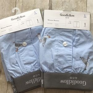 2 pair of cotton Woven Boxers seagulls novelty L